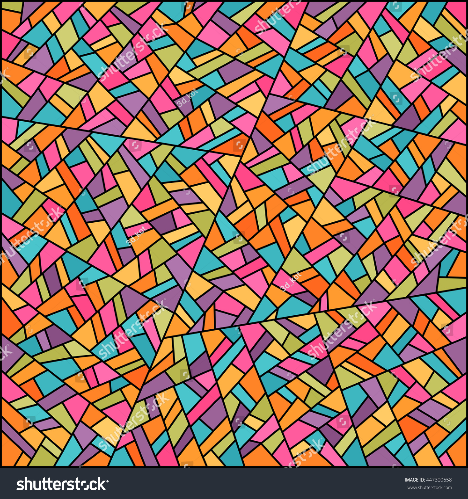 Abstract Colorful Stained Glass Background Easy Stock Vector