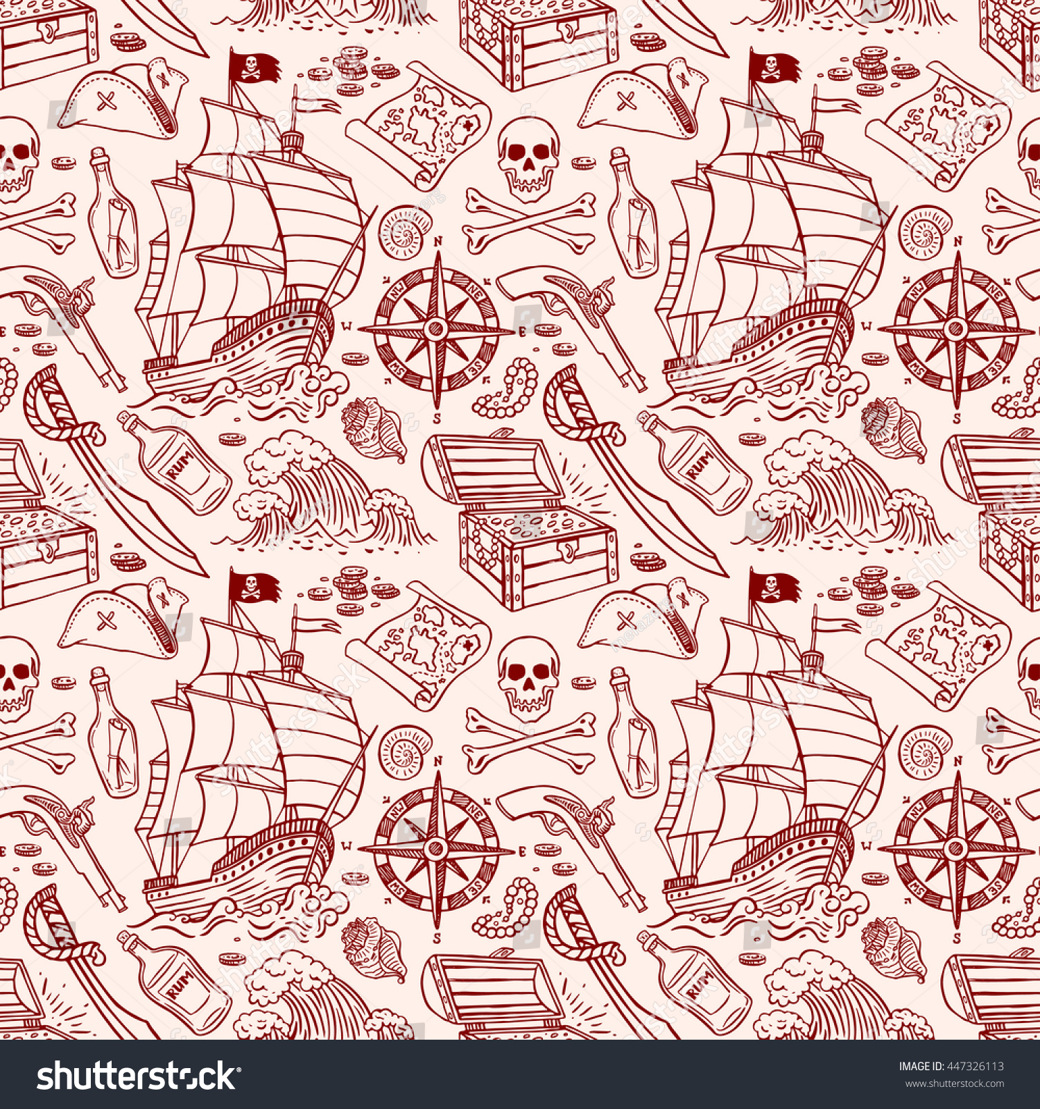 cute seamless pattern pirate ship attributes stock vector