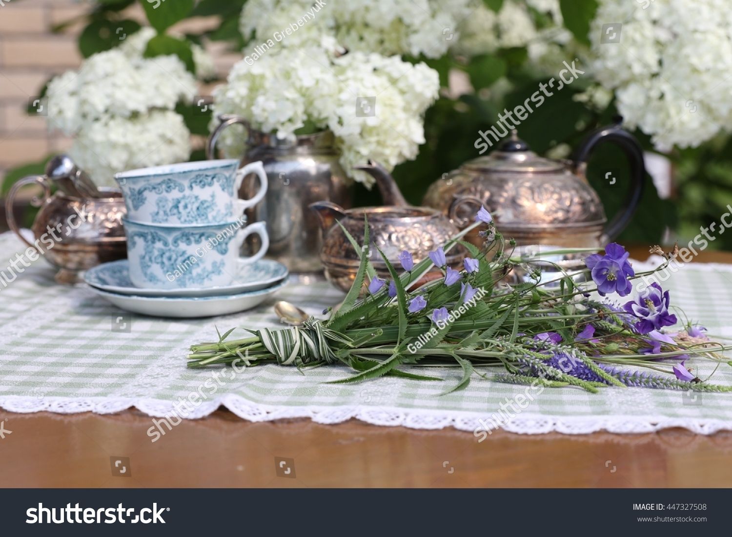 Garden tea party with very old vintage