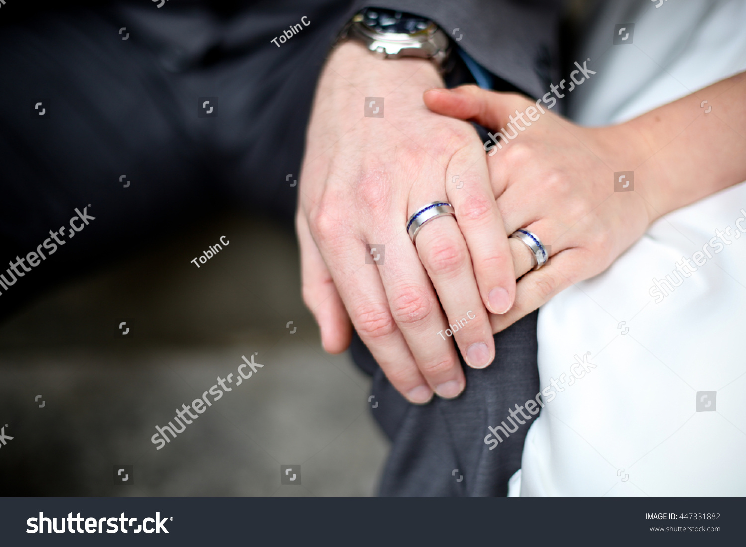 Man Women Holding Hands Wedding Rings Stock Photo (100% Legal ...
