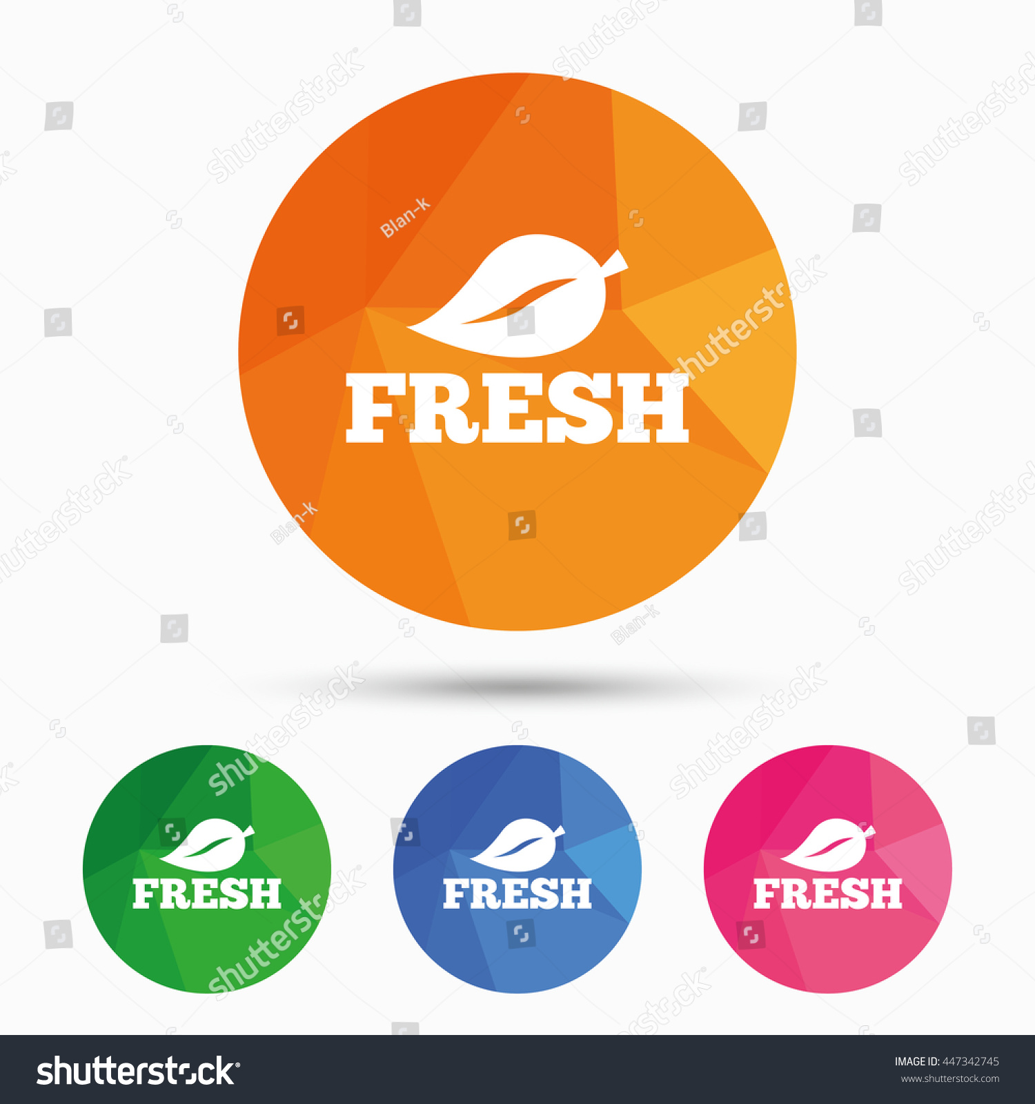 Fresh product sign icon leaf symbol stock vector 447342745 leaf symbol triangular low poly button with flat icon buycottarizona