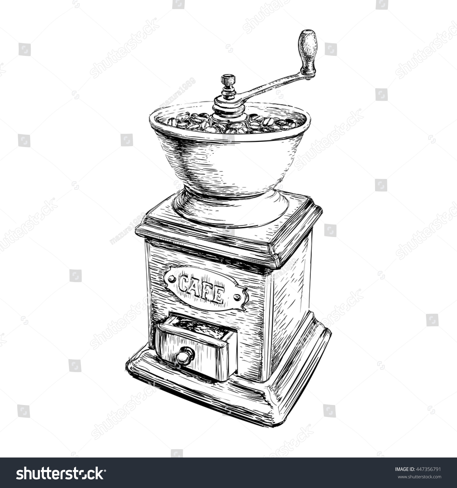 Coffee Grinder Drawing ~ Vector illustration manual coffee grinder stock