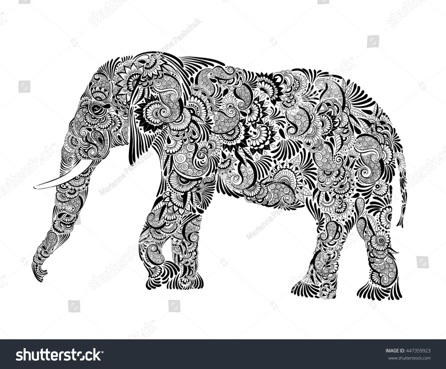 royalty free floral patterned elephant hand drawn 447359923 stock