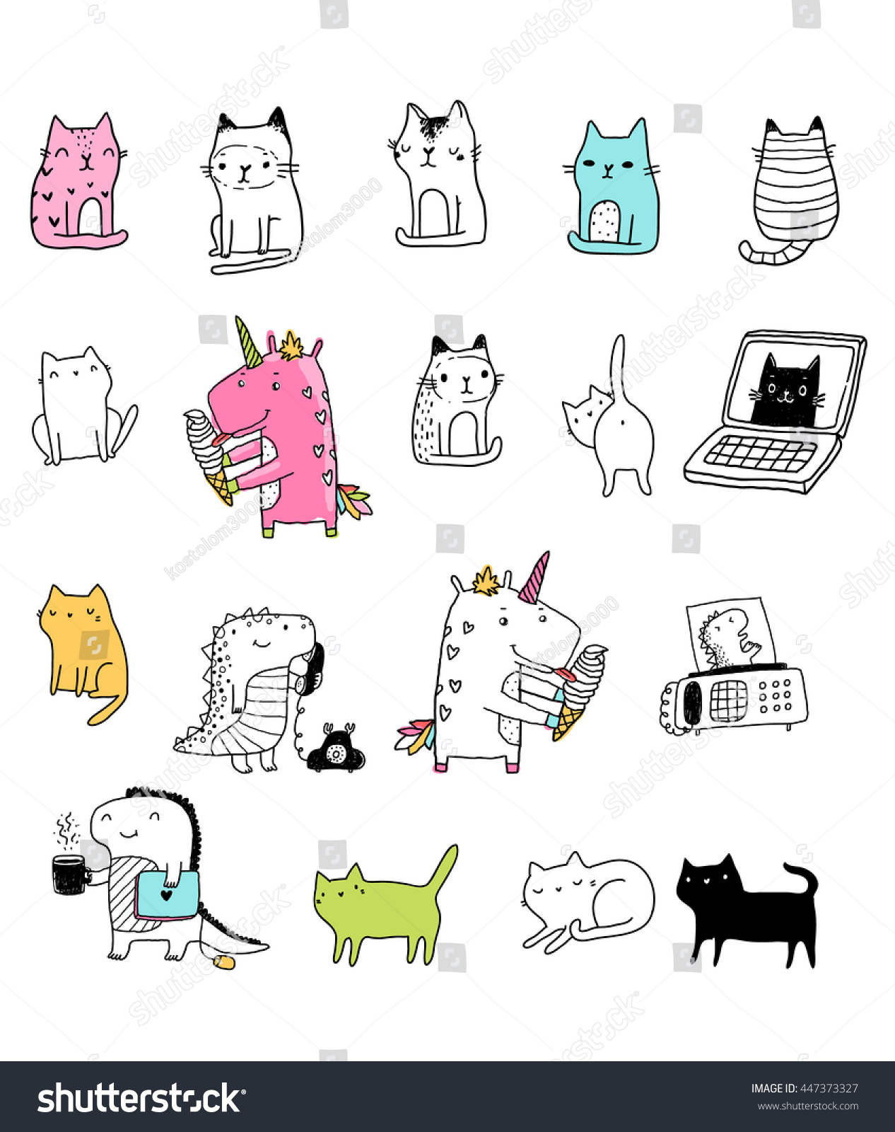 Funny Stickers With Unicorn Eating Ice Cream Black Cats White Kitties Cute Dinosaurs