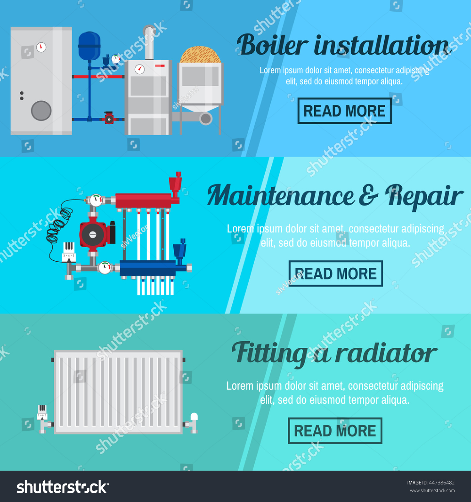 Horizontal Banner Set Boiler Installation Maintenance Stock Vector ...
