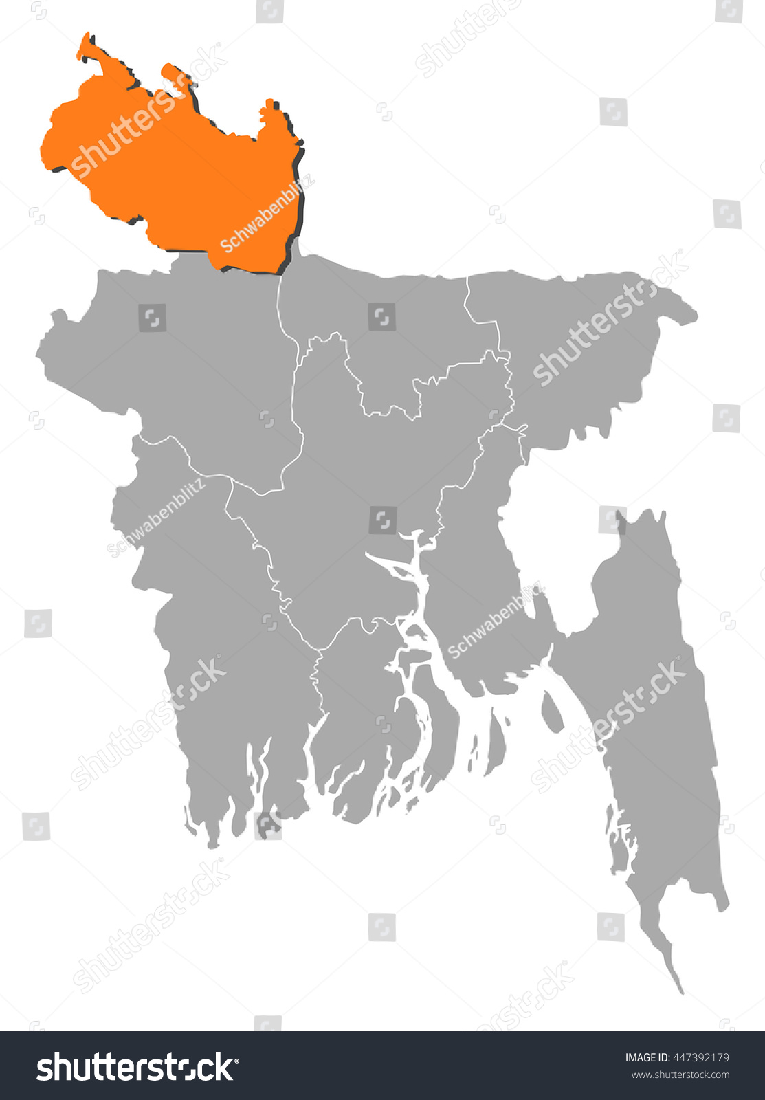 Map Bangladesh Rangpur Stock Vector 447392179 Shutterstock