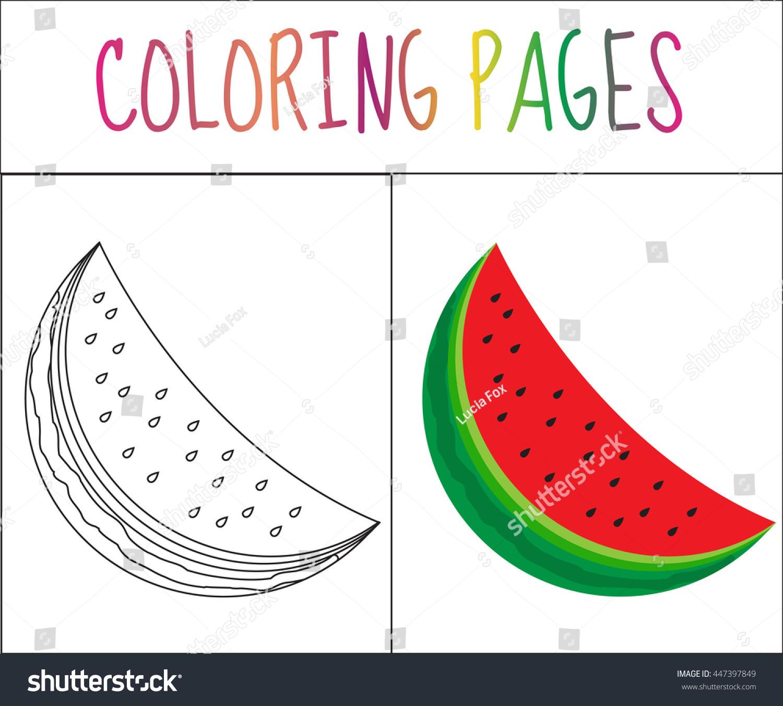 coloring book page watermelon sketch color stock vector 447397849