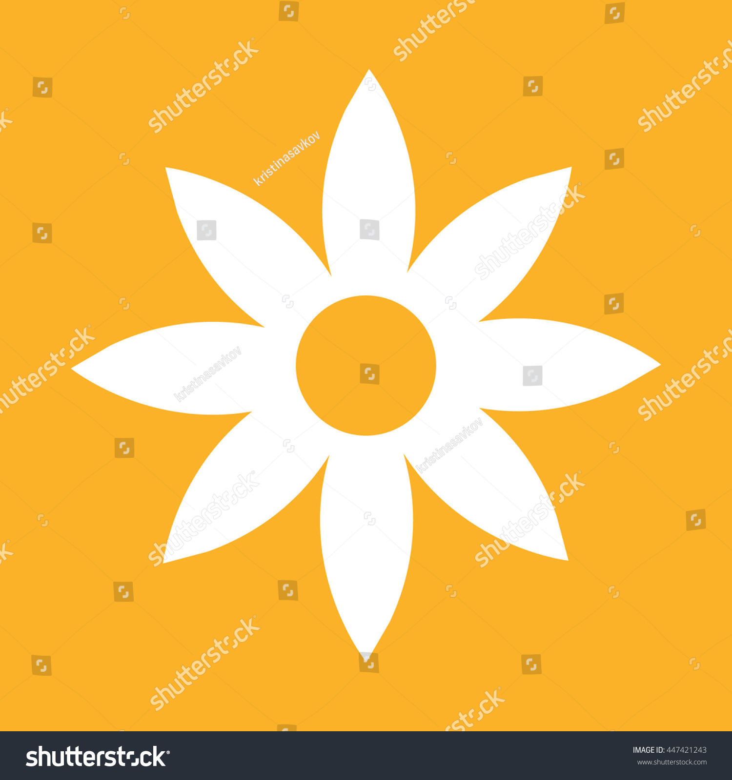 White Flower Icon Vector Illustration Yellow Stock Vector Royalty