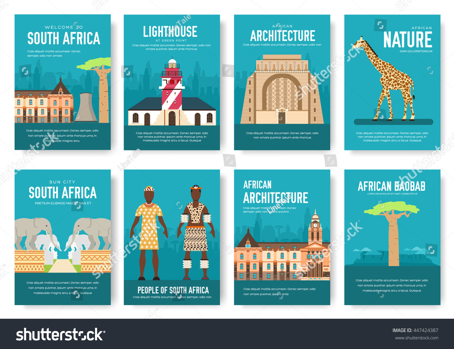 Set South Africa Country Ornament Travel Stock Vector Royalty Free