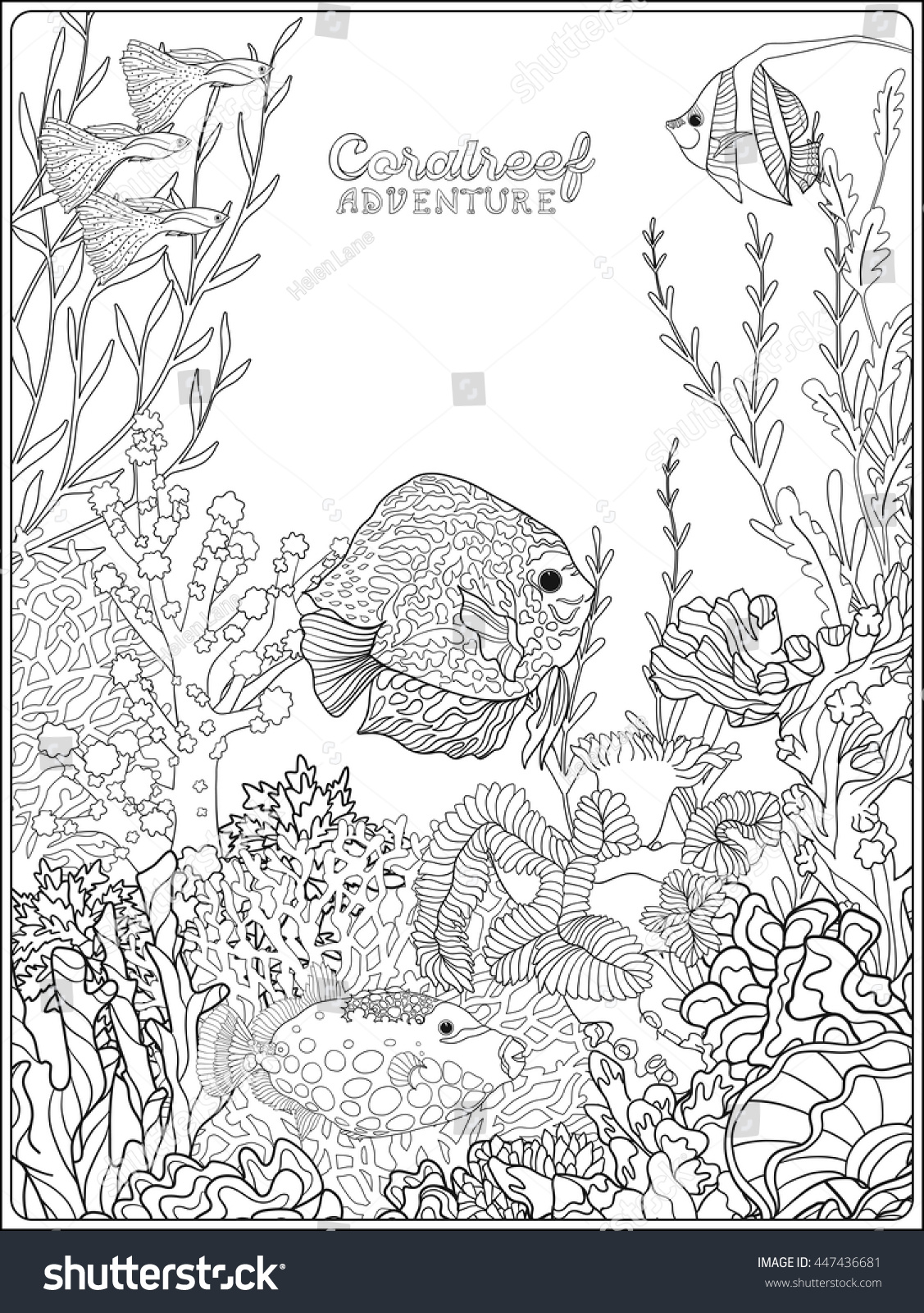 coloring book coloring page underwater stock vector