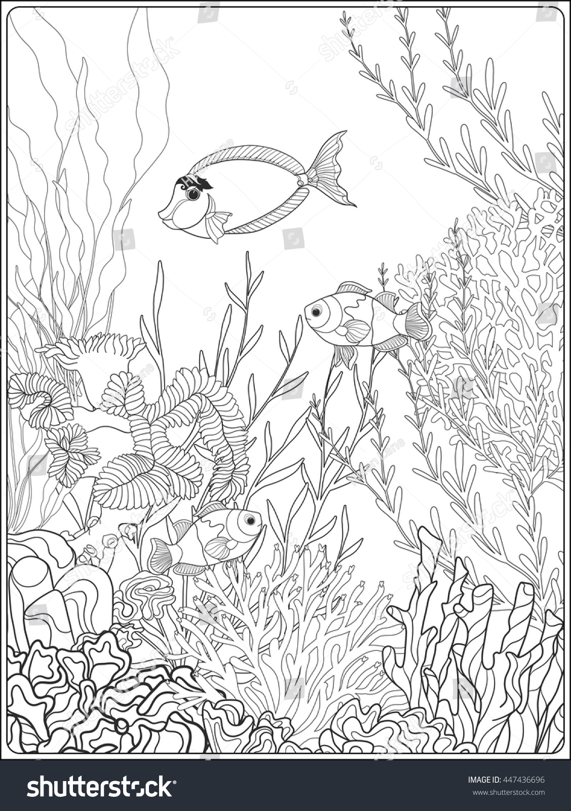 Adult Coloring Book Coloring Page Underwater Stock Vector (Royalty ...