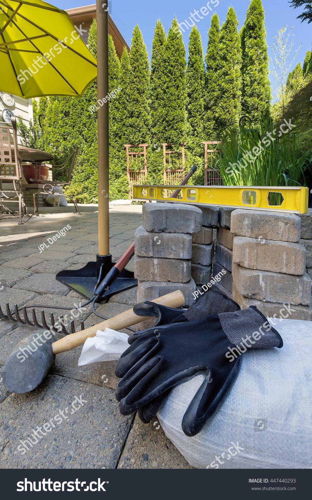 stone bricks pavers backyard patio hardscape stock photo 447440293