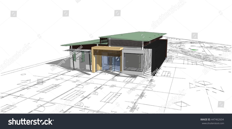 3 D Model House Sketchup Stock Illustration 447462604 - Shutterstock