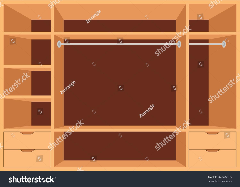 Flat design walk closet shelves interior stock vector 447484195 shutterstock - Shelf interior room design ...