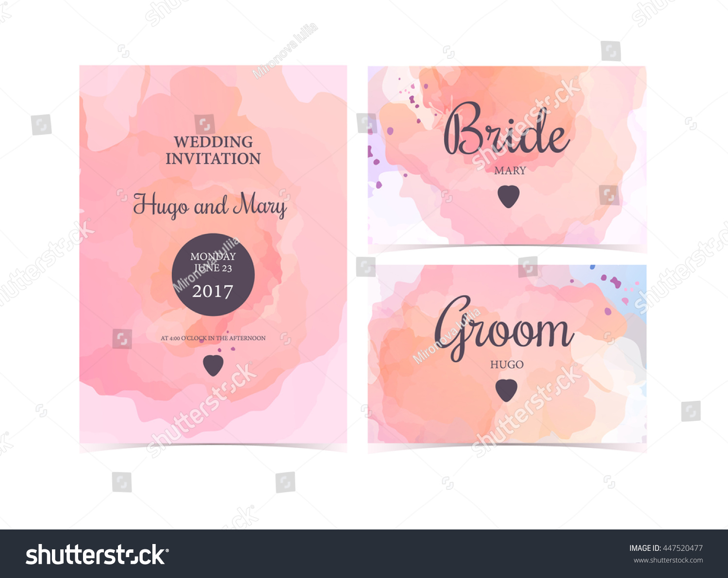 Wedding invitation cards on watercolor backgroundvector stock wedding invitation cards on watercolor backgroundctor template stopboris Images