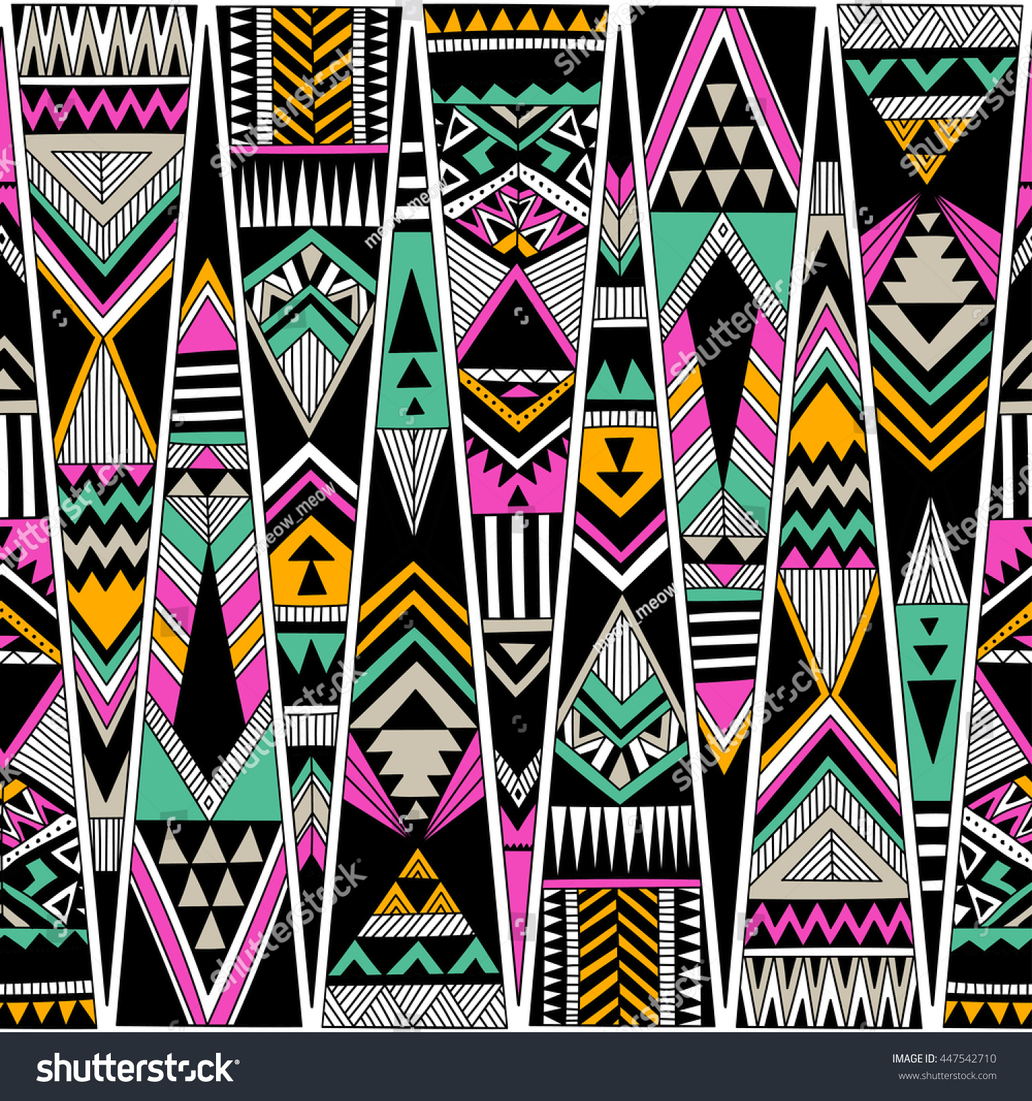 Background geometric mexican patterns seamless vector zigzag maya - Multicolor Tribal Navajo Vector Seamless Pattern Aztec Fancy Abstract Geometric Art Print Ethnic Hipster