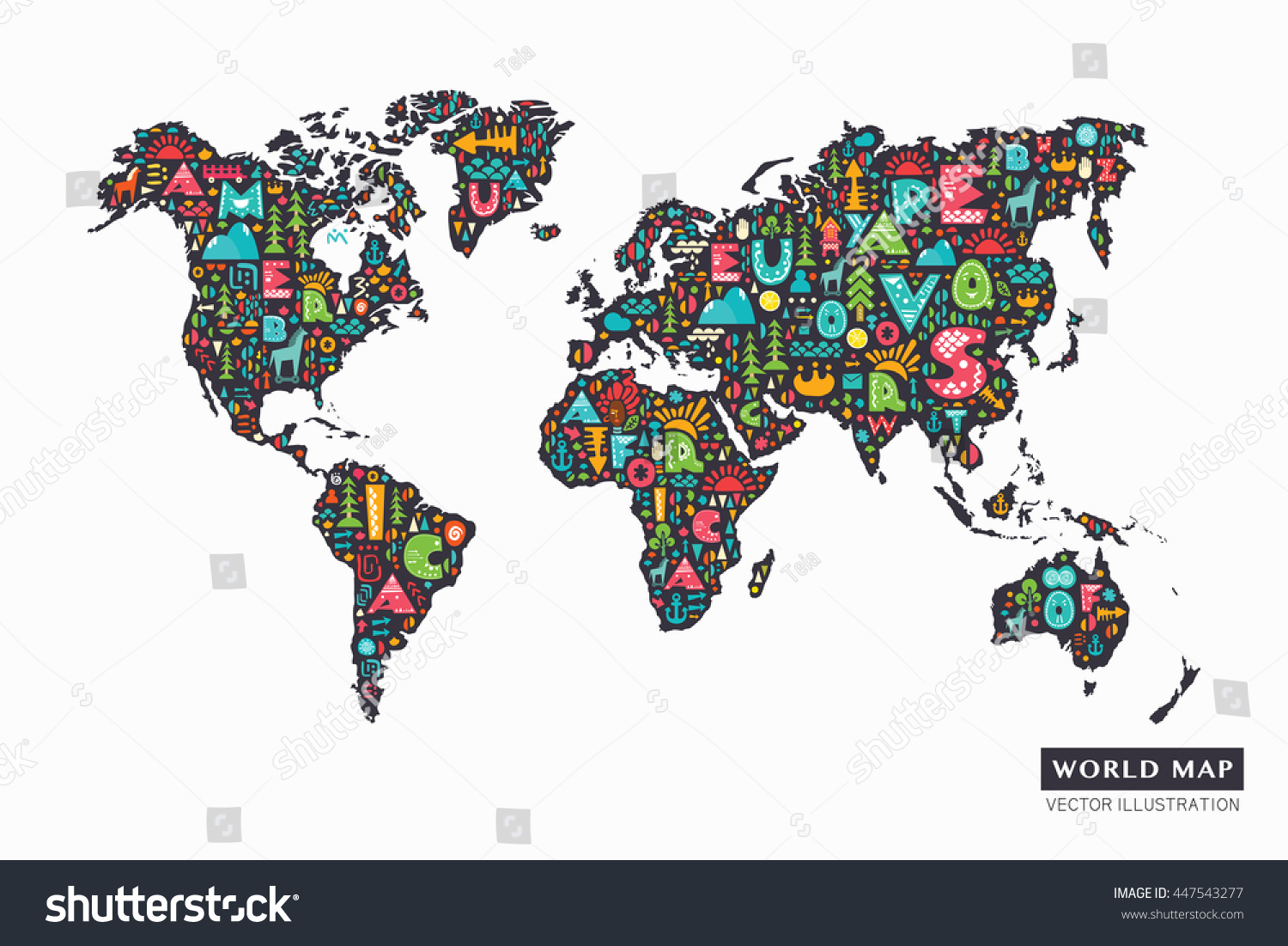 Funny cartoon world map alphabet letters vectores en stock 447543277 funny cartoon world map with alphabet letters and design abstract elements vector illustration gumiabroncs Choice Image