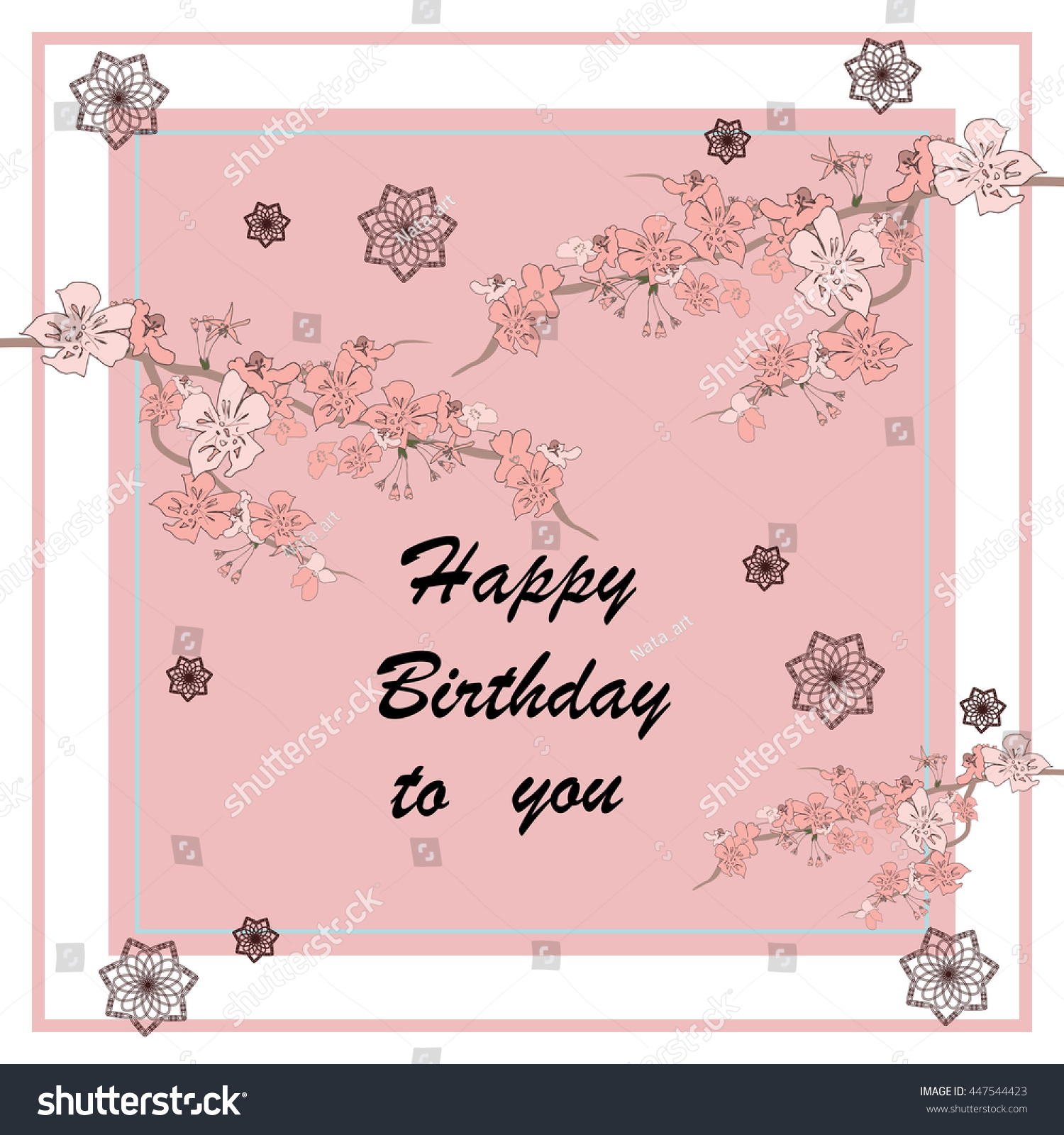 Happy Birthday Card On A Pink Background Vector With Japanese Chery