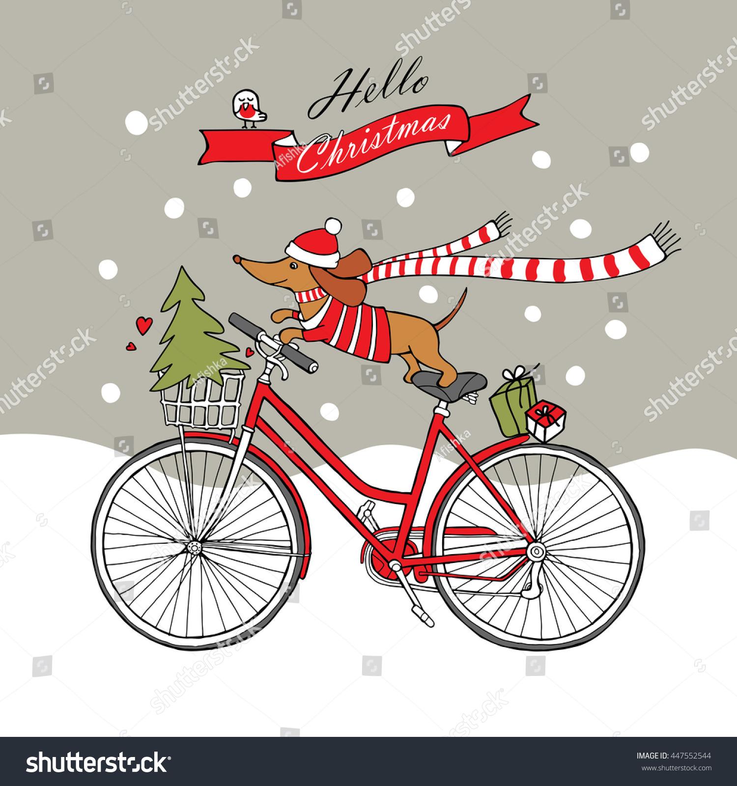Romantic Christmas Card Cartoon Picture Dog Stock Vector (Royalty ...