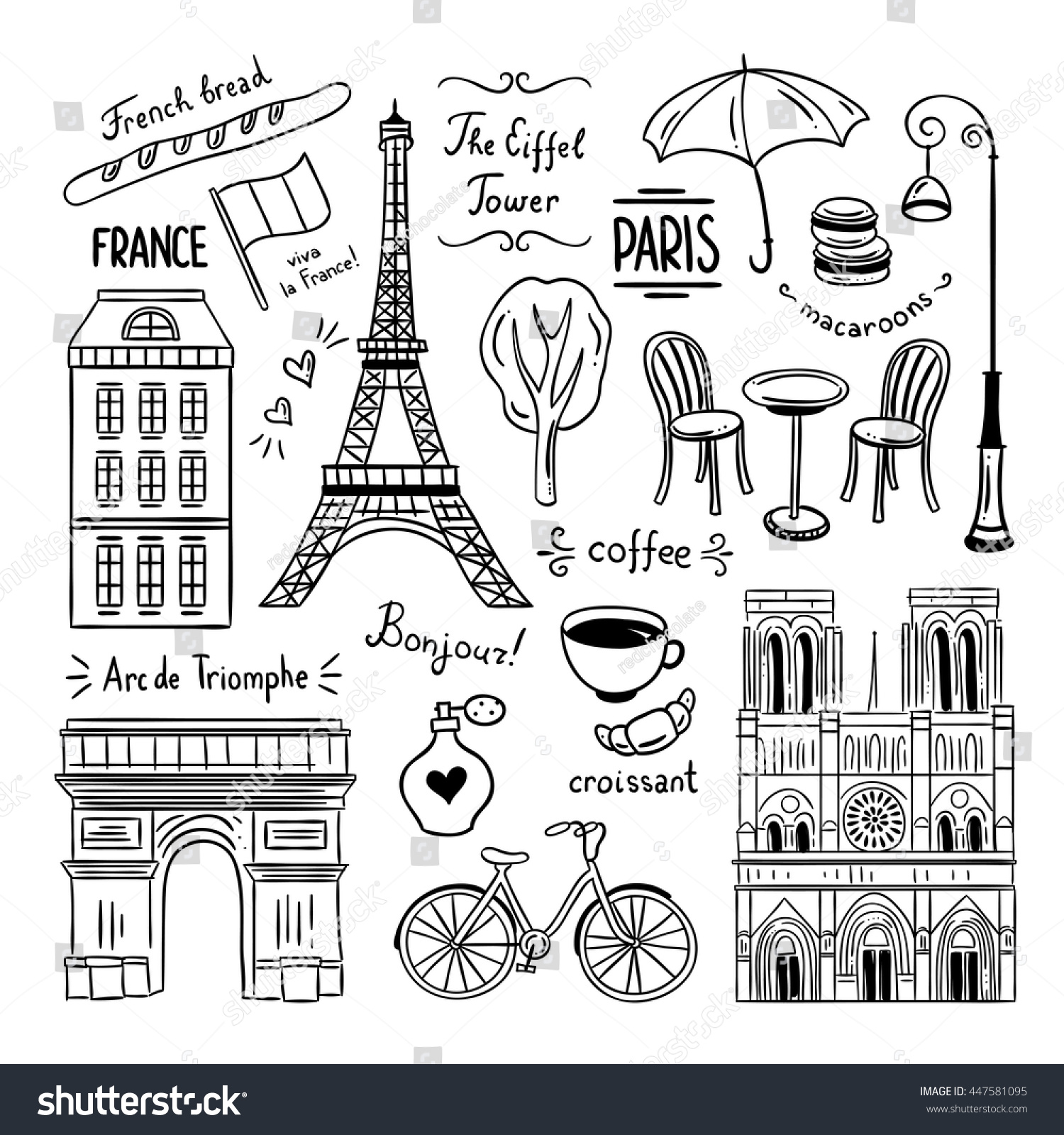 Hand Drawn Paris France Clipart Doodles Stock Vector ...