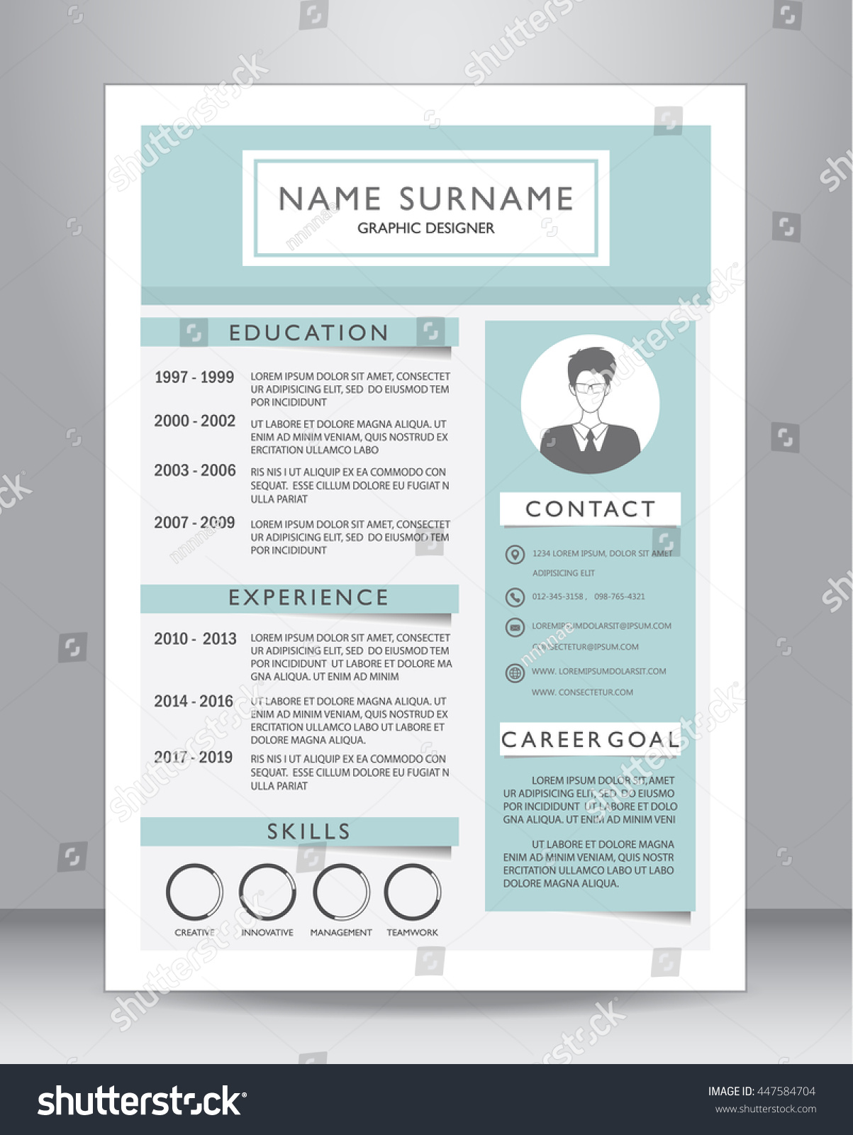 job resume cv template layout template stock vector 447584704