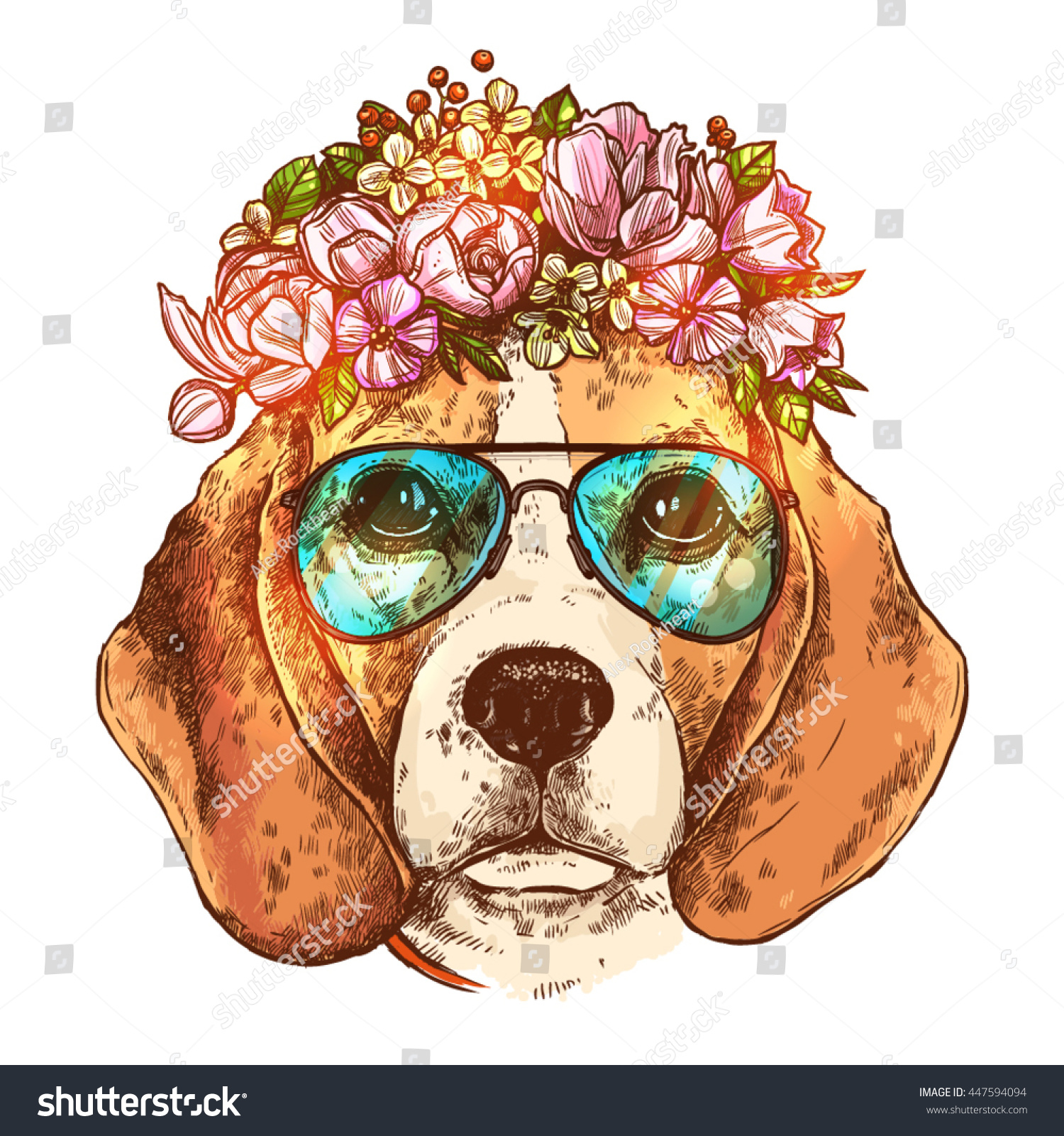 Portrait Of Beagle Dog With Flower Floral Wreath And Sunglasses Sketch Color Hand Drawn Vintage Style Hipster Animal