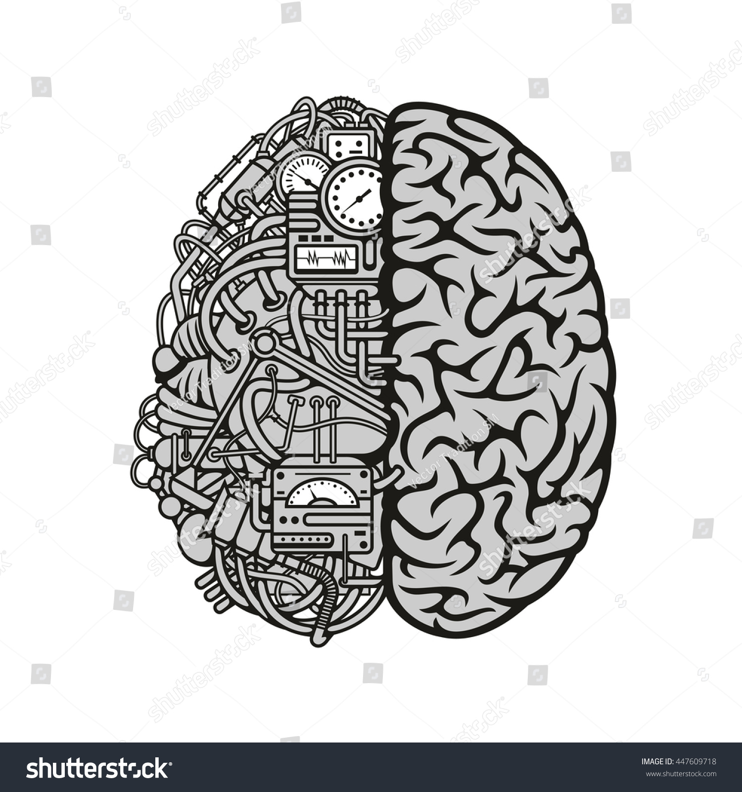 Human machine brain detailed combined human em vetor stock 447609718 human machine brain with detailed combined human brain with automatic computing engine equipments great for ccuart Choice Image