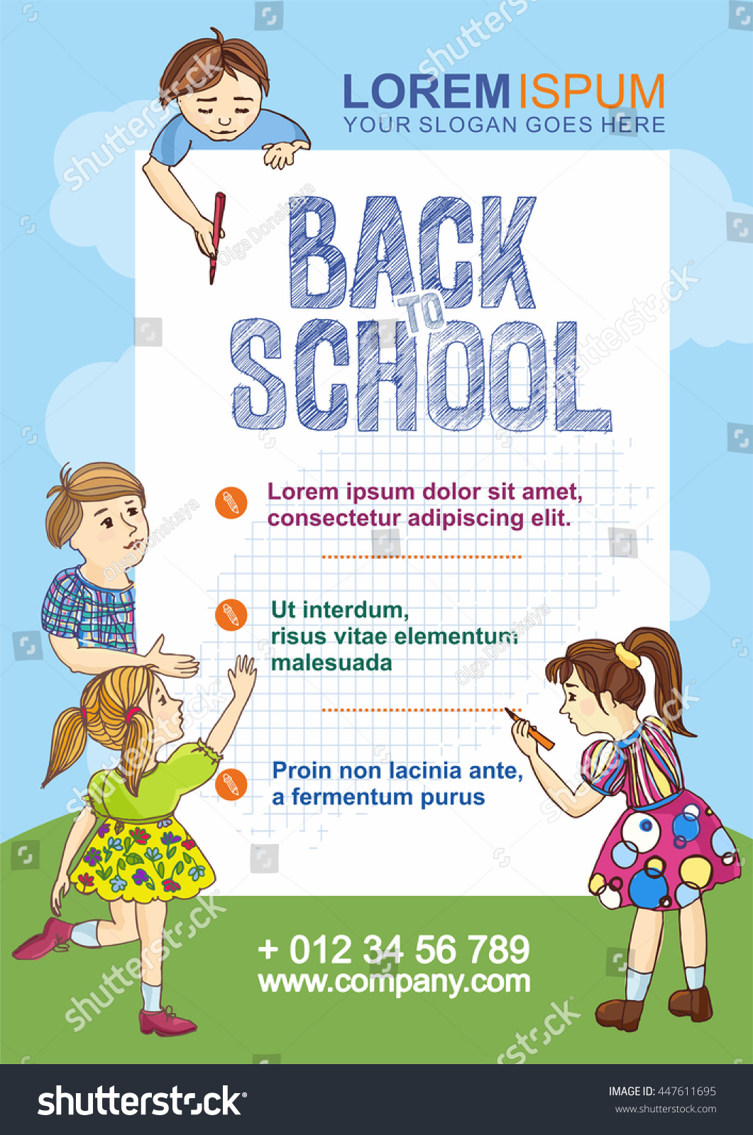 Back School Flyer Template Hand Drawn Stock Vector Royalty Free