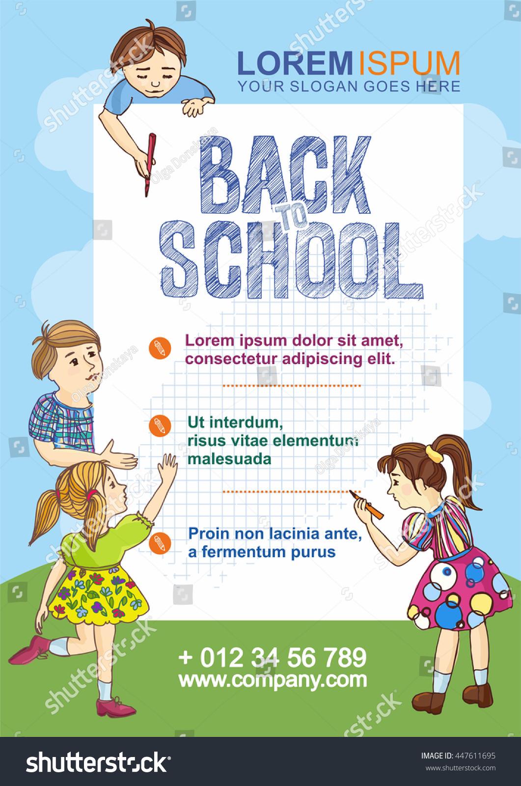 Back School Flyer Template Hand Drawn Stock Vector (2018) 447611695 ...