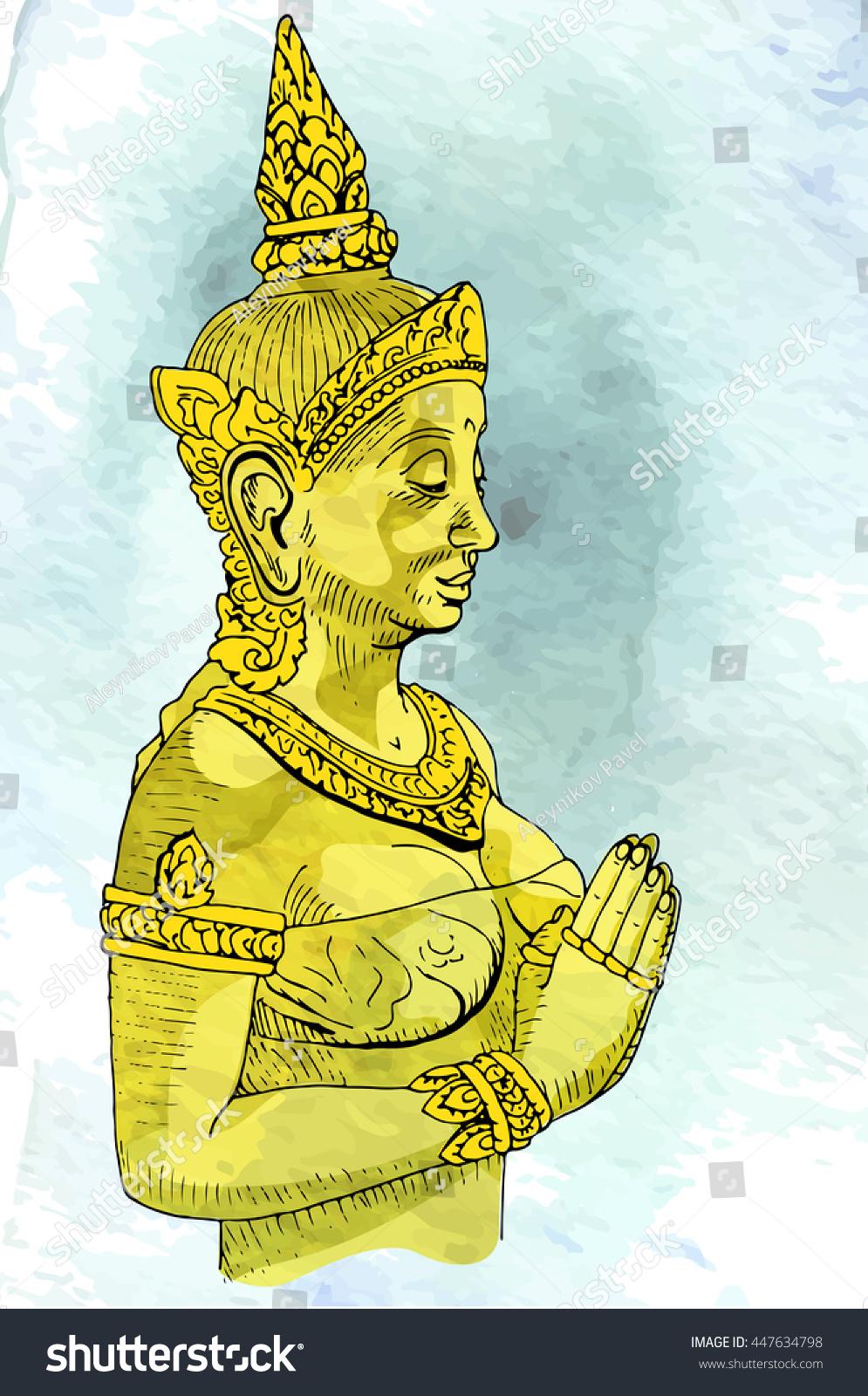 Statue buddha meditation nirvana thai style stock vector 447634798 statue buddha meditation in nirvana thai style vector pic buycottarizona Image collections