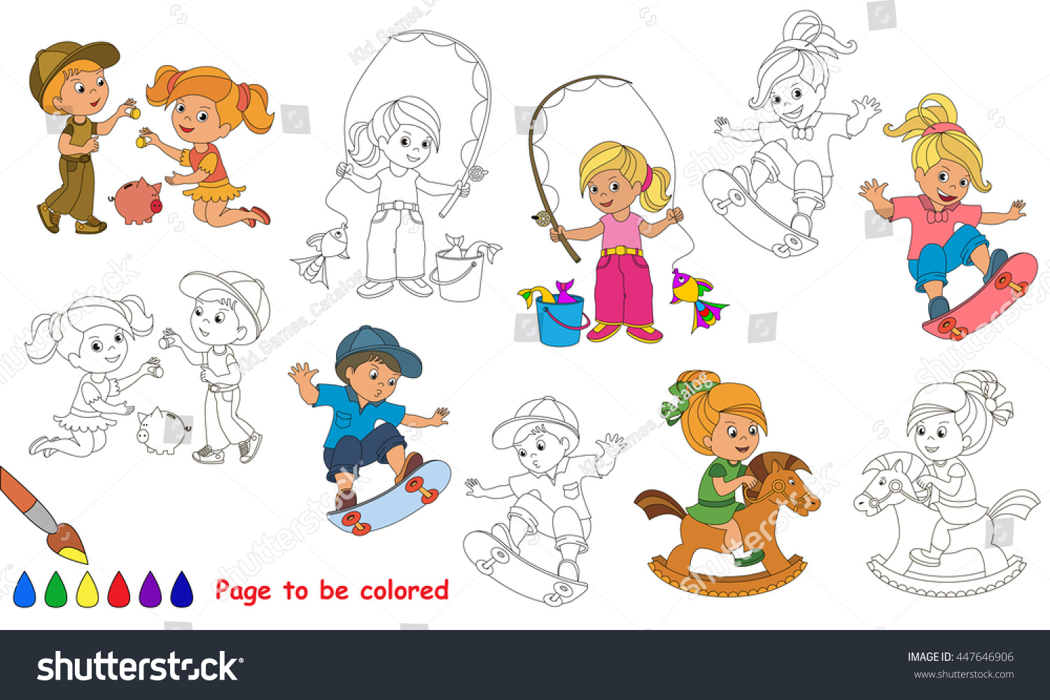 Kid Summer Games Be Colored Coloring Stock Vector 447646906 ...