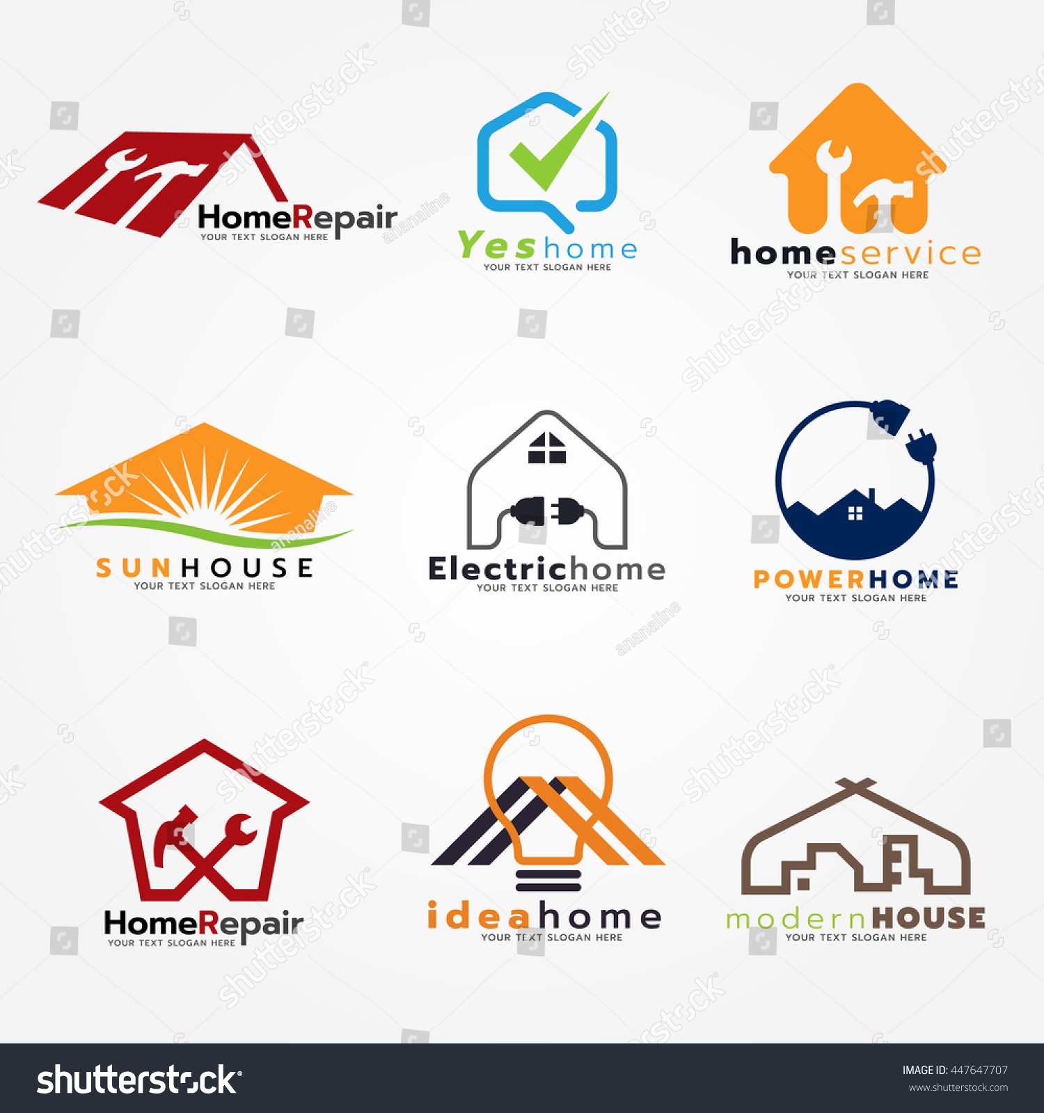 Home Service Modern Logo Vector Set Stock Photo (Photo, Vector ...