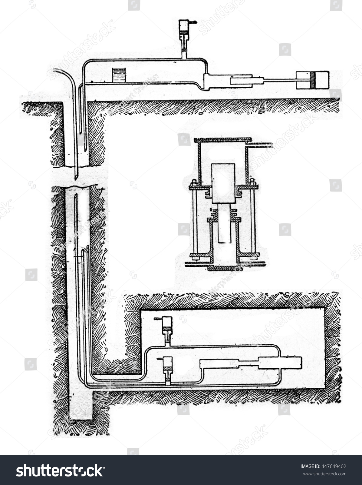 diagram of hydraulic transmission pump, vintage engraved illustration   industrial encyclopedia e -o  lami - 1875
