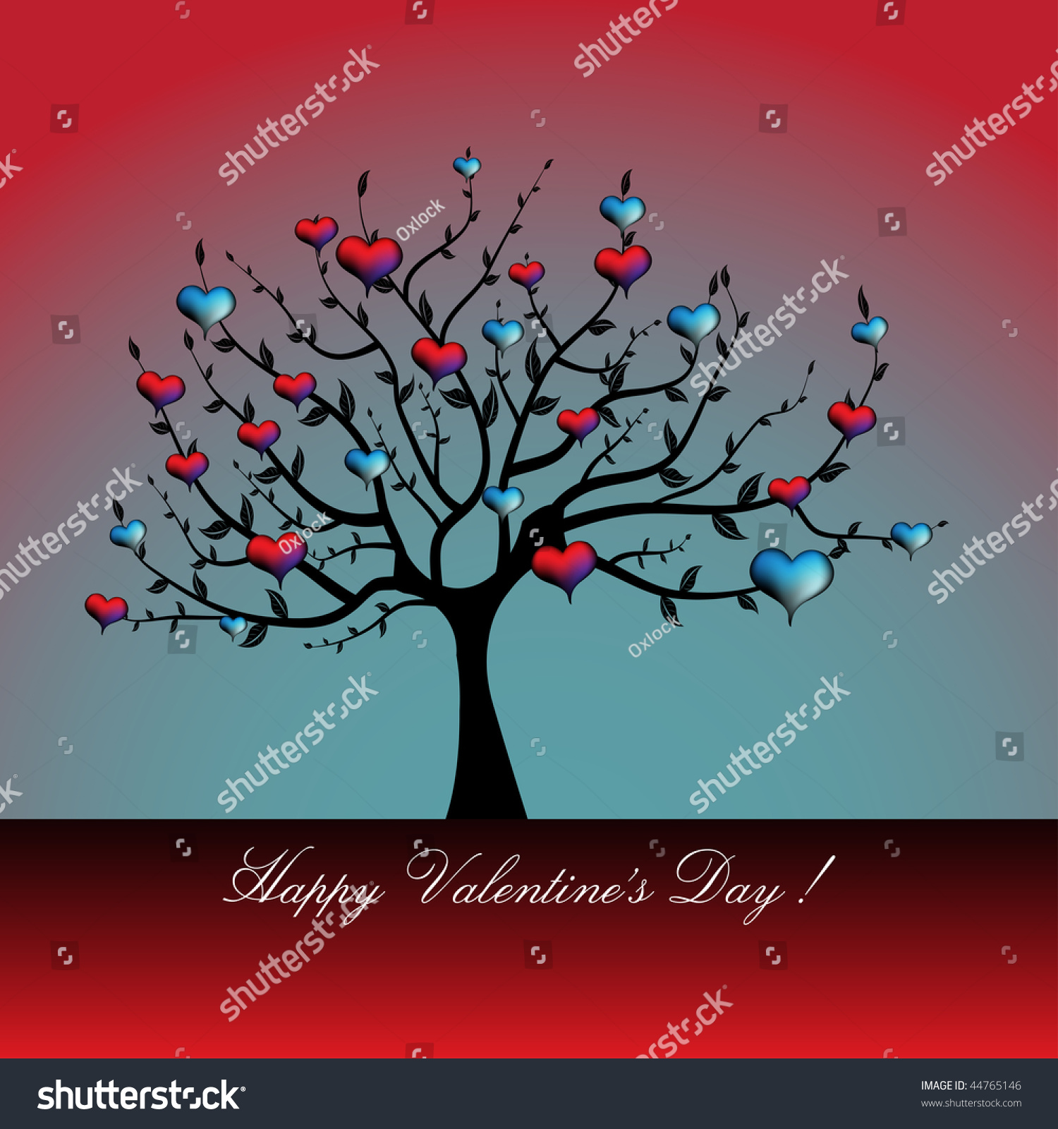 Abstract colored illustration tree colorful hearts stock