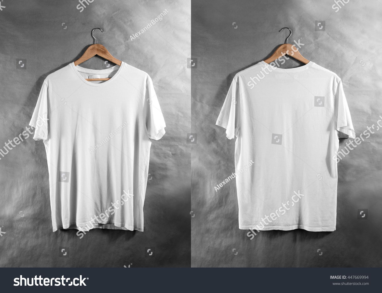 Blank White Tshirt Front Back Side Stock Photo 447669994 ...