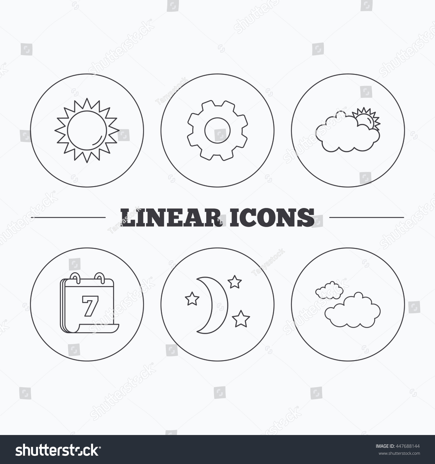 Weather Sun Cloudy Icons Moon Night Stock Vector Royalty Free