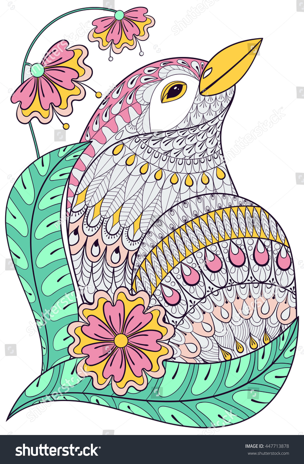 Zentangle Exotic Bird In Colorful Flowers Hand Drawn Ethnic Animal For Adult Coloring Pages