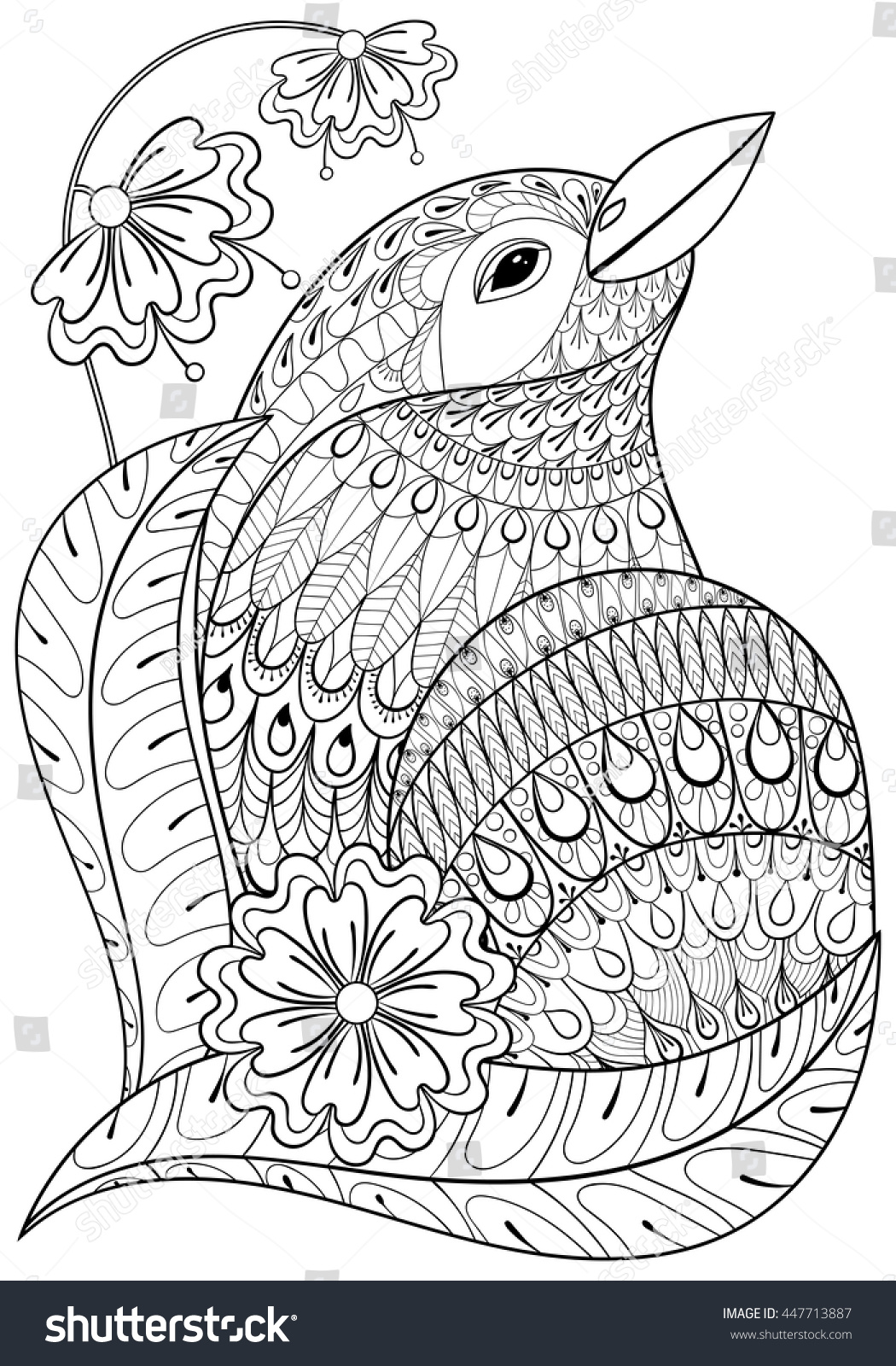 Zentangle Exotic Bird In Flowers Hand Drawn Ethnic Animal For Adult Coloring Pages T