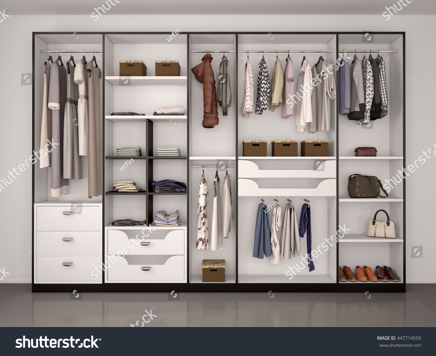 black and white wardrobe closet full of different things 3d