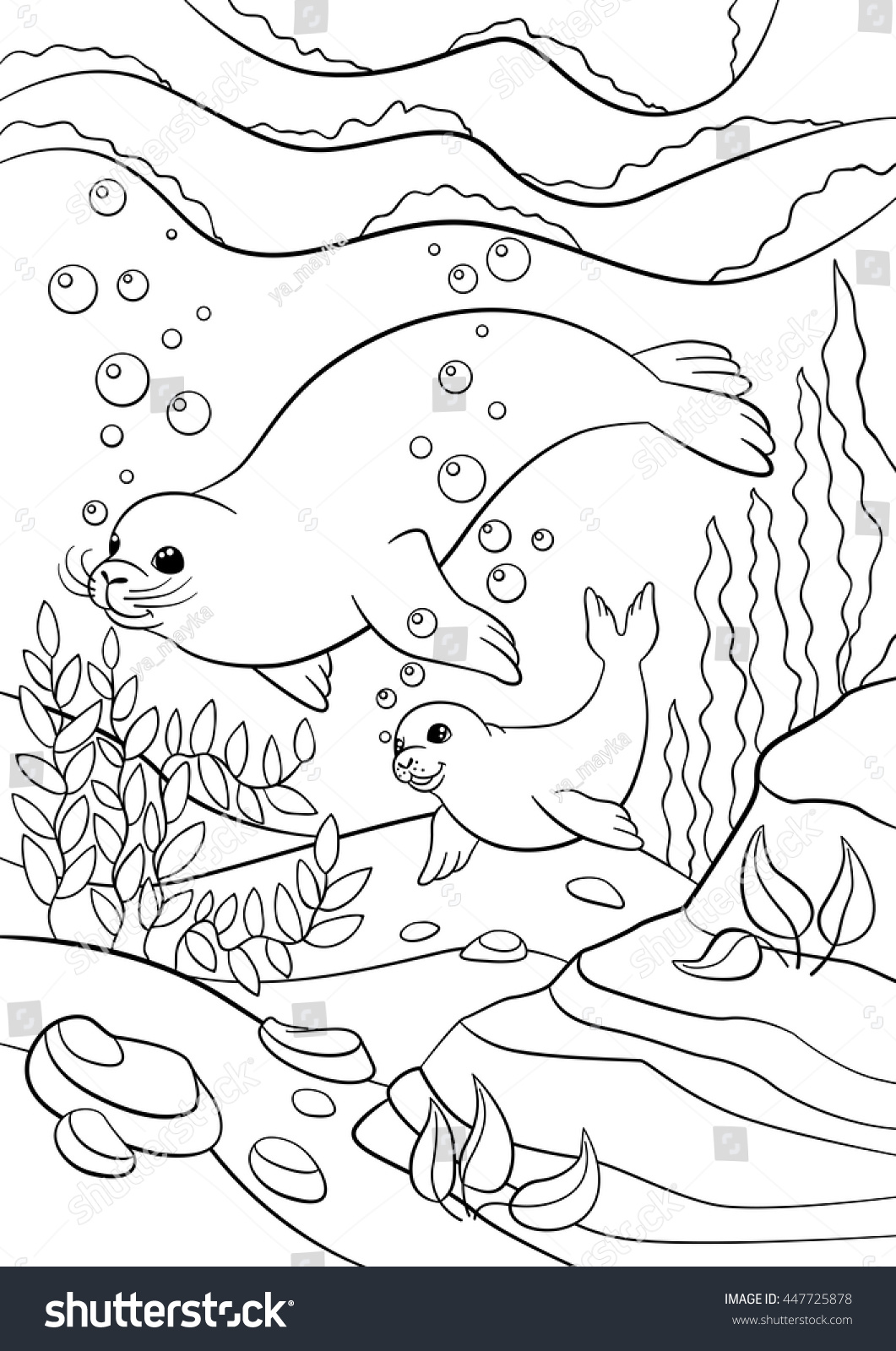 Coloring Pages Mother Seal Her Little Stock Vector ...
