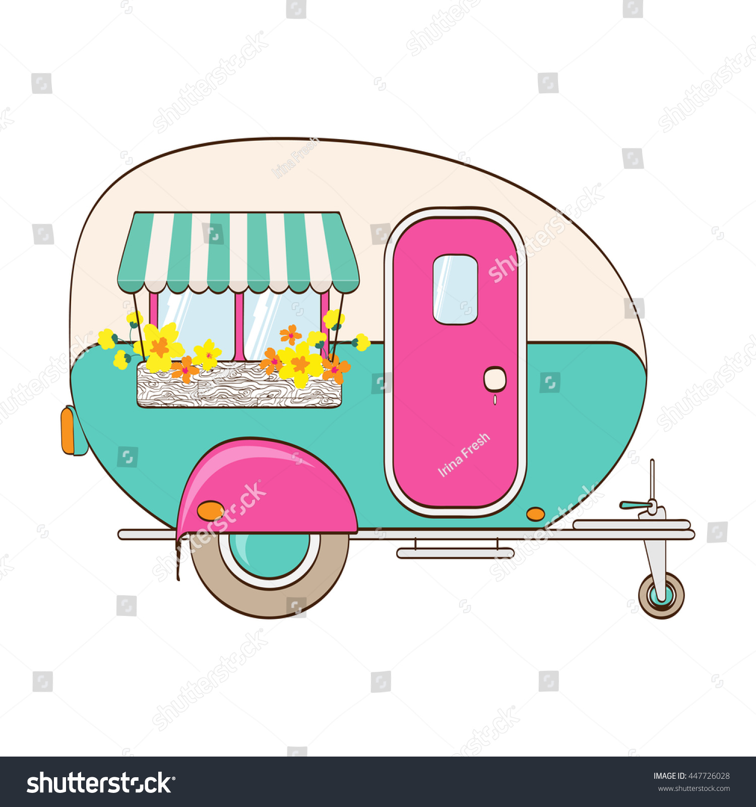 Cute Pink Turquoise Camper Window Awning Stock Vector ...
