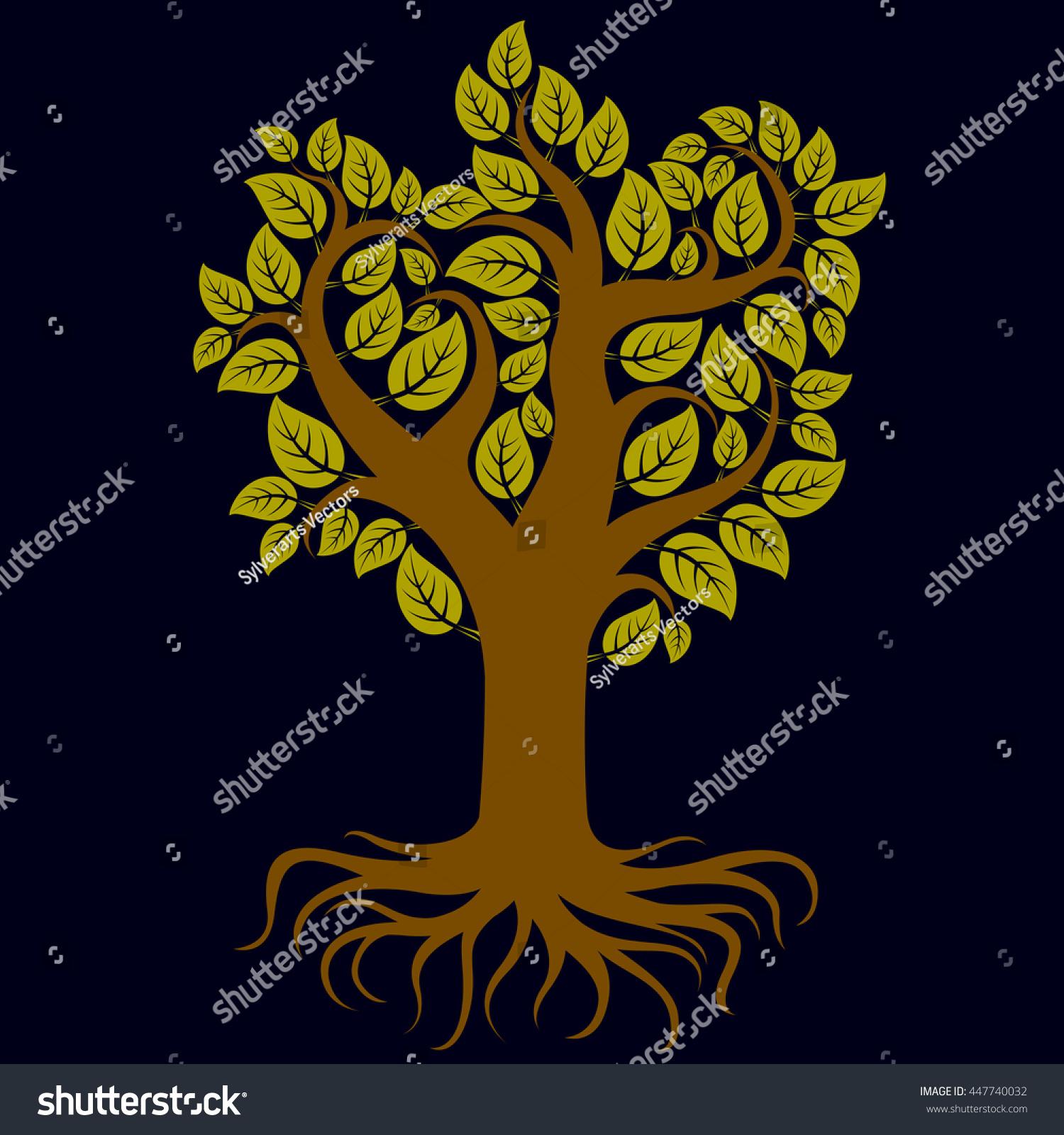 Vector Art Illustration Branchy Tree Strong Stock Vector Royalty