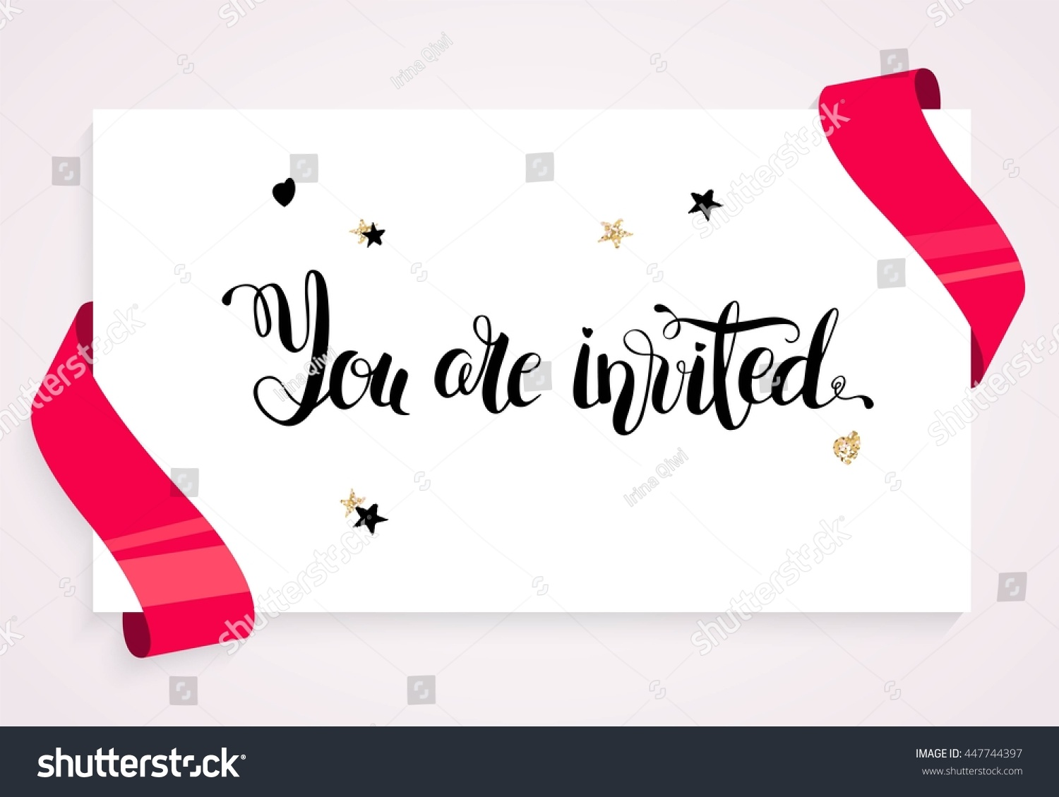 you are invited invitation card banner with balloons ribbons and paper sheet you