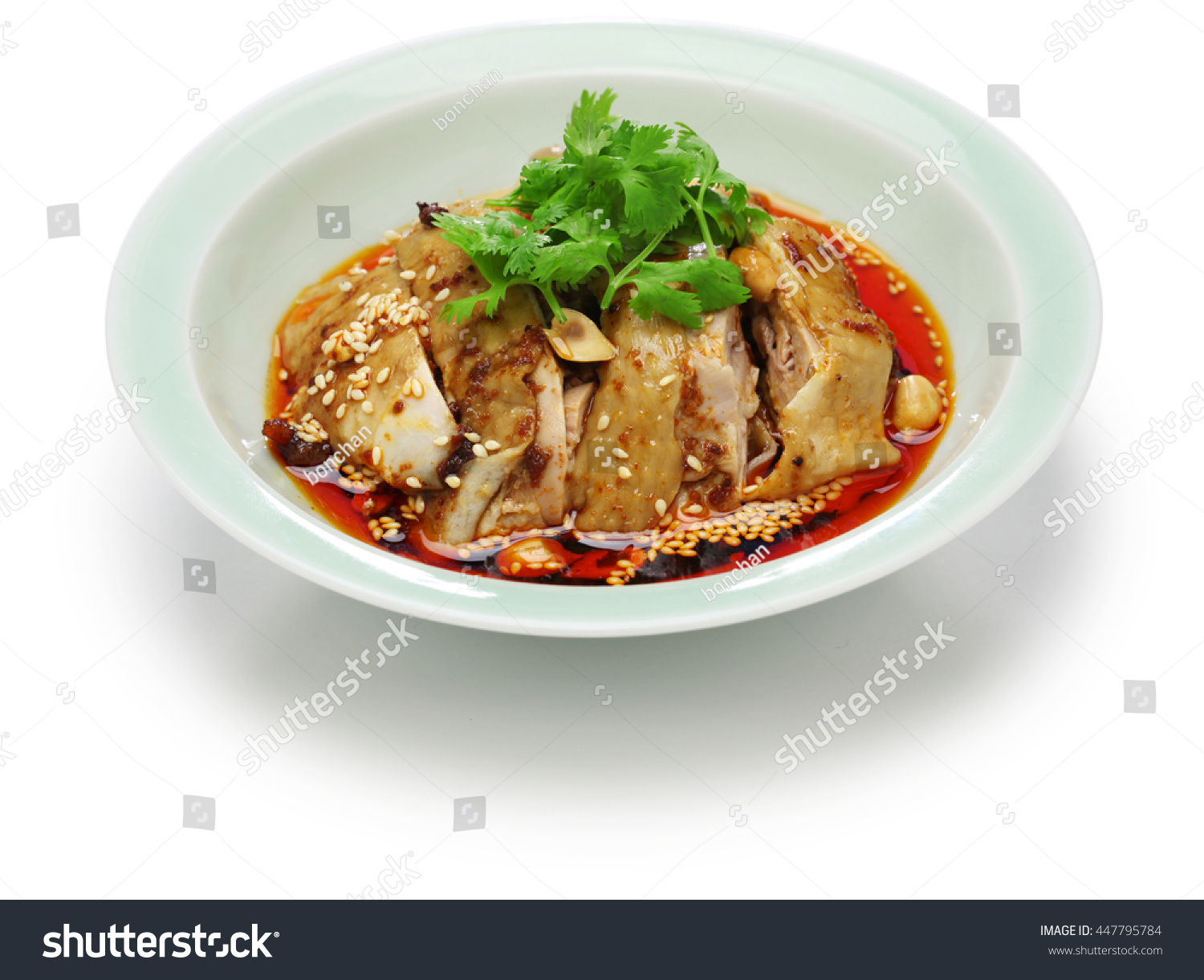 saliva chicken, mouthwatering chicken, poached chicken with chili oil ...