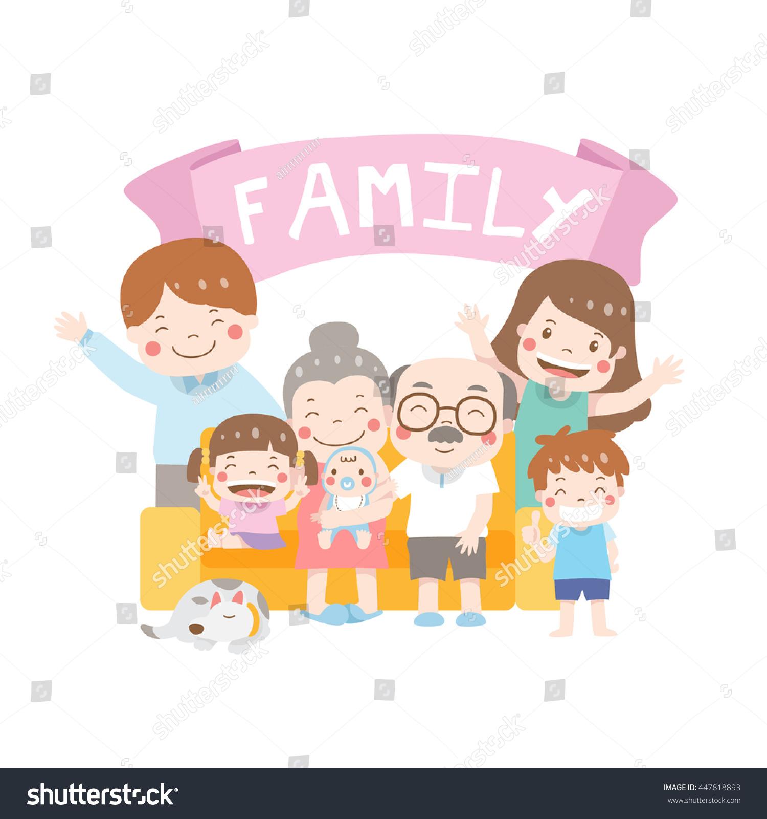 Happy Family Day Cartoon Vector Illustration Stock Vector Royalty Free 447818893