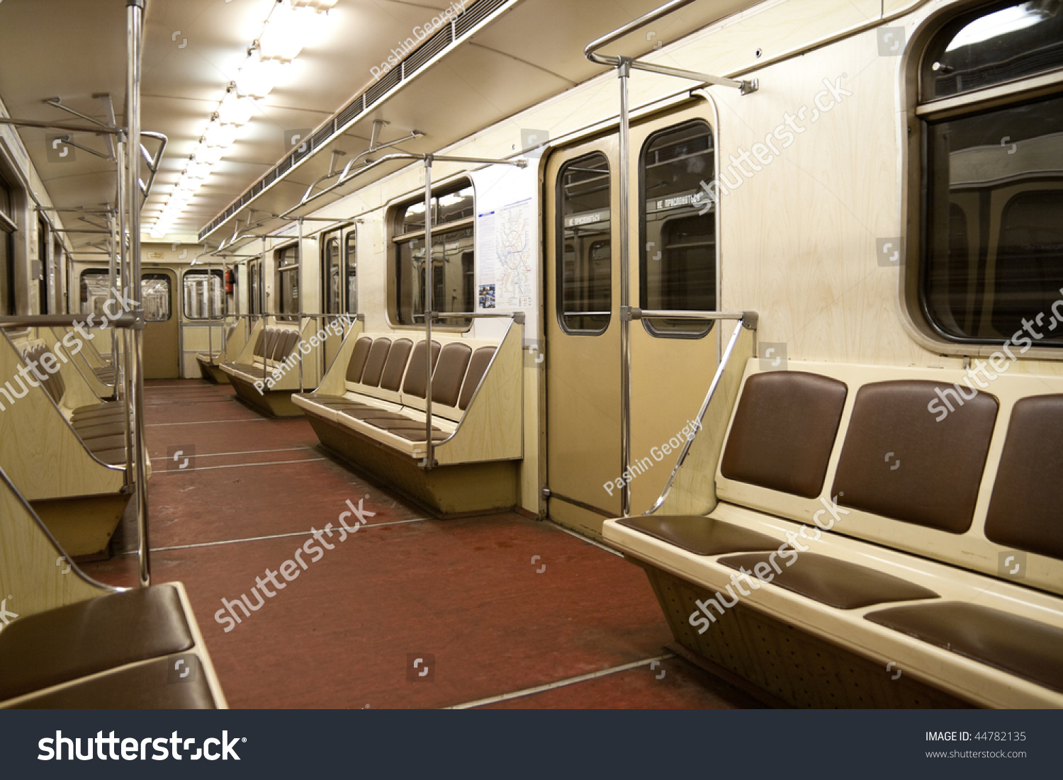 inside empty subway car train moscow stock photo 44782135 shutterstock. Black Bedroom Furniture Sets. Home Design Ideas