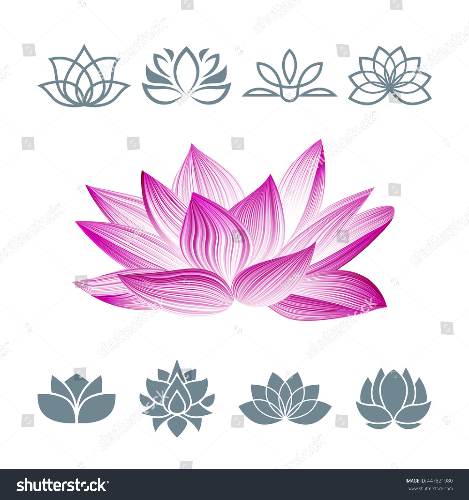 Royalty free lotus flower icons set vector floral 447821980 stock lotus flower icons set vector floral logo oriental symbol isolated on white silhouettes mightylinksfo