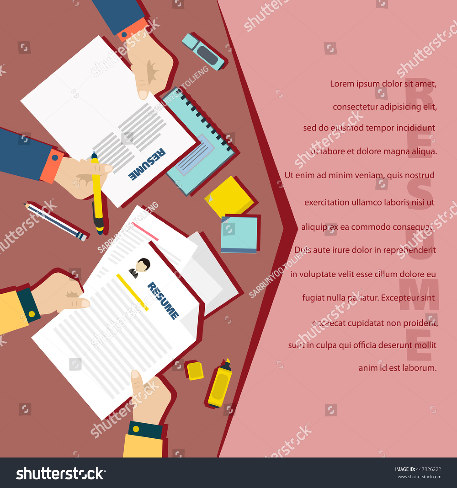 job interview concept business resume on stock vector  job interview concept business resume on red background