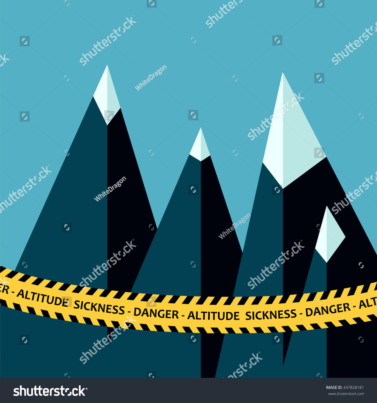 Altitude Sickness Mountains Concept Police Tape Stock Vector - Sea level altitude