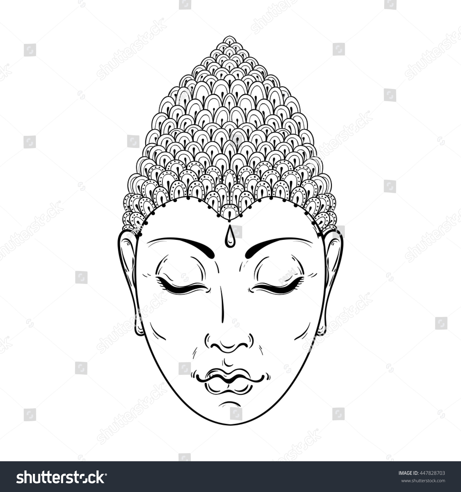 vector zentangle portrait buddha ornamental stock vector